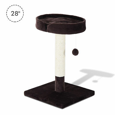 "PawHut 28"" Cat Tree Padded Condo Scratch Post Pet Play Tower Kitten Furniture"