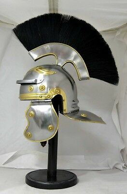 Centurian Helmet Medieval Knight Armour Costume With Black Plume Roman
