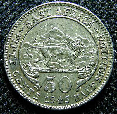 1943-I East Africa, Silver 50 Cent Coin