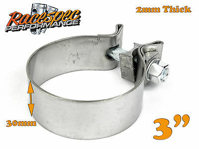 "3"" inch 76mm Stainless Steel Band Clamp heavy duty exhaust band 30mm wide"
