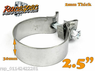 """2.5"""" inch 63mm Stainless Steel Band Clamp heavy duty exhaust band 30mm wide"""