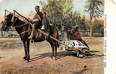 B28/ Native American Indian Postcard c1910 Reservation Mail Carrier Horse 22