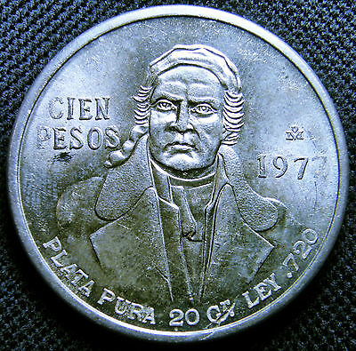 1977 Mexico, Silver 100 Pesos Coin - Long 7's In Date