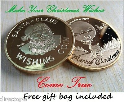 Father Christmas Santa Claus Wishing Coin Gift Stocking Filler Gold or Silver