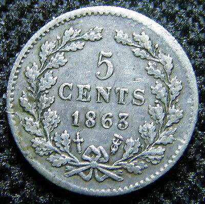 1863 Netherlands, Silver 5 Cent Coin