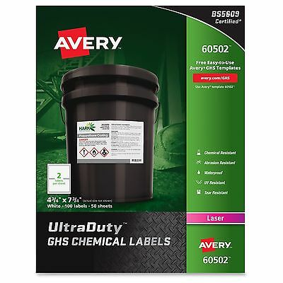 Avery UltraDuty GHS Chemical Laser Labels - White (100/Box)