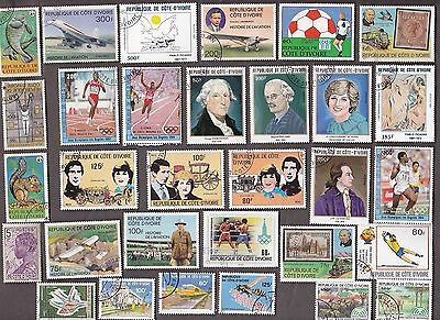 100 All Different Ivory Coast Stamps