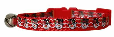 "Christmas  ribbon Red ""Snowman or Santa ""   safety kitten cat collar 3 sizes"