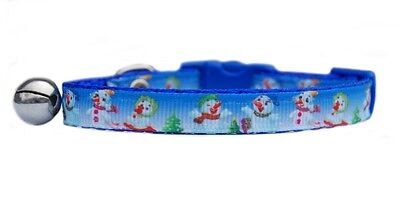 "Christmas Blue or light blue   ""Snowman  ""   safety kitten cat collar 3 sizes"