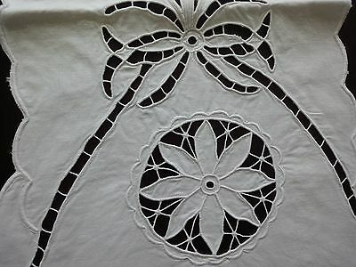 Beautiful Vintage Handmade Cutting Embroidered Cotton White Table Runner