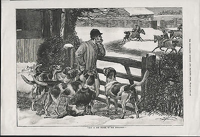 Huntsman And Foxhounds On Winter Morning 1886 Antique Woodcut Engraving Print
