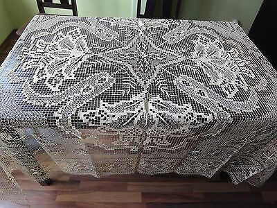 Beautiful Vintage Handmade Cotton Crochet Ecru Filet Lace Tablecloth / Bedspread