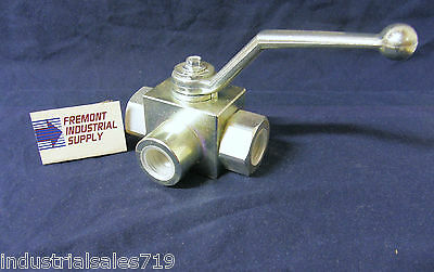 "Hydraulic Ball Valve 3 way 1/2"" NPT 5075 PSI Italian import"