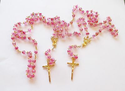 Set of 2 Beautiful Rosaries with Clear Pink Beads, Golden Tone Metal