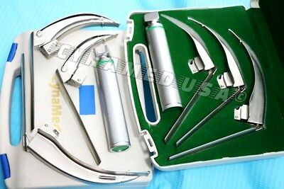 GERMAN-MCCOY FLEXI-TIP FIBEROPTIC LED Laryngoscope SET- MAC # 1 &2 &3+HANDLE