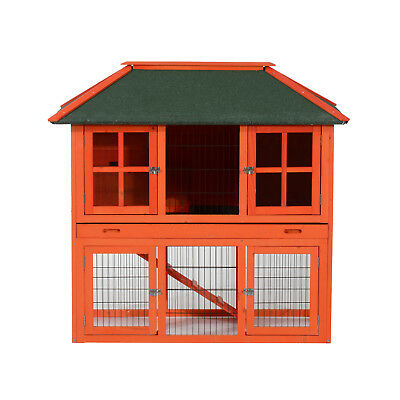 "49.2"" Rabbit Hutch Chicken Cage Coop Wooden Pet House Run Nesting Box Backyard"