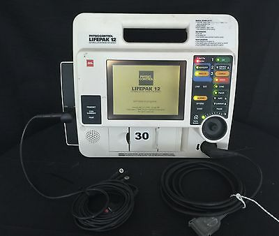 Lifepak 12 Patient Monitor Leads & Printer Included
