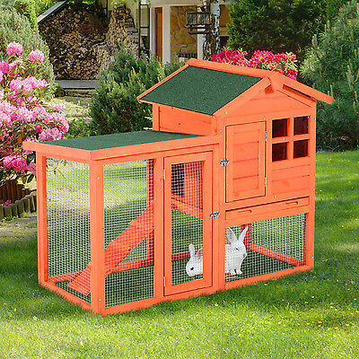 "48.03"" Rabbit Hutch Pet Portable Wooden Wood Enclosure Bunny House Cage Tray Run"