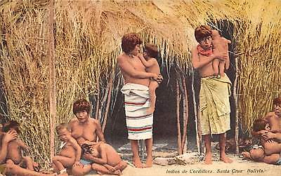 SANTA CRUZ, BOLIVIA ~ SEMI-NUDE NATIVE WOMEN WITH THEIR CHILDREN ~ dated 1909