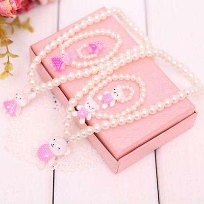 Children Girls Princess Baby Beads Necklace&Bracelet&Ring Set Jewelry Gift New