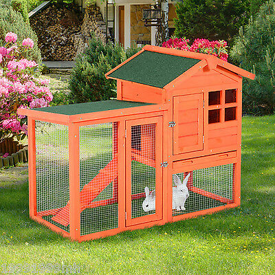 PawHut Deluxe Rabbit Hutch House Wooden Wood Cage Animal Run Habitat Waterproof