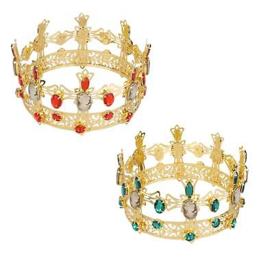 Full Crystal King Wedding Bridal Party Pageant Prom Tiara Round Crown Gold