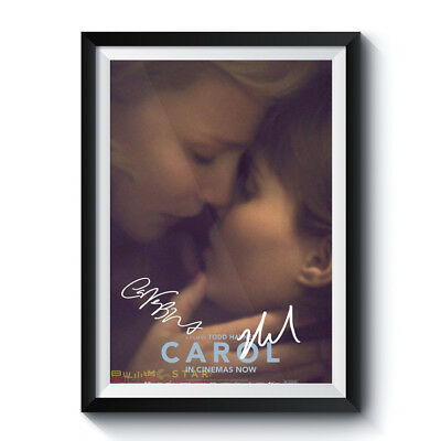 CAROL Mini Movie Poster 5x7 Photo Signed RPT Kiss Lesbian Romance BLANCHETT MARA