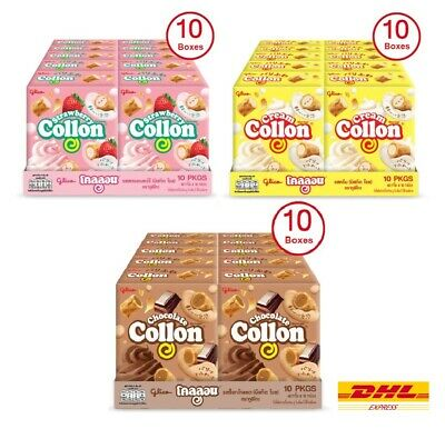 Glico Collon Biscuit Roll with Cream Chocolate Strawberry & Matcha Flavour Snack