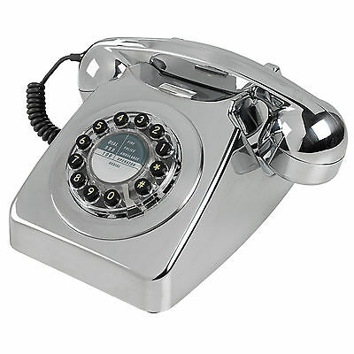 Wild Wood Telephone Chrome 746 Phone Retro Classic Landline Push Button Dialling