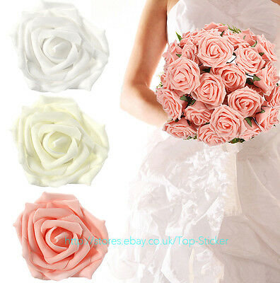 50 Colourfast Foam Rose Artificial Flower Wedding Bride Bouquet Party Decor