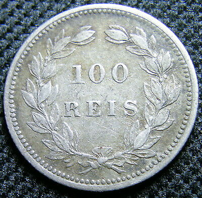 1893 Portugal, Toned Silver 100 Reis Coin