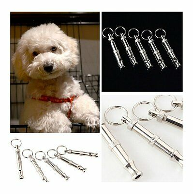 Stainless Steel Keychain Pet Dog Training Ultrasonic Sound Keyring Whistle Pitch