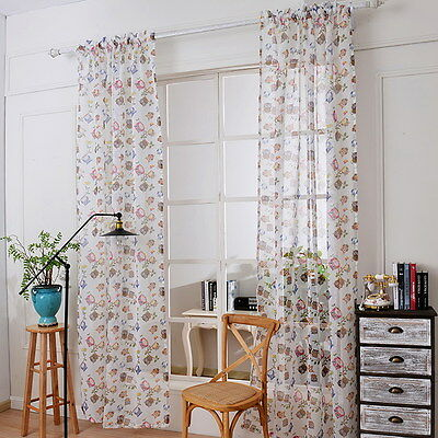 Owl Print Window  Curtain Cartoon Yarn Bedroom Living Room Decor Burnt-Out Craft