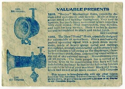 1917 Cigarette Insert Premium Offer: MECHANICAL HORNS