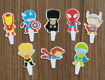 8x Superhero Cupcake Toppers Birthday Party Supplies Favours Avengers Decor