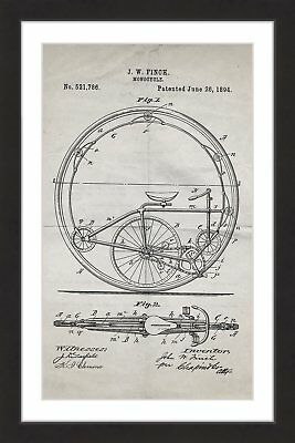 Marmont Hill 'Monocycle 1894 Old Paper' by Steve King Framed Painting Print