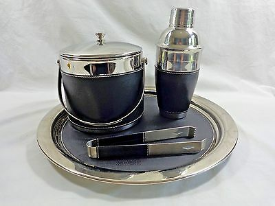 Oneida Bar Service Set of 4 Tray Ice Bucket Shaker Mixer Tongs Silver and Black