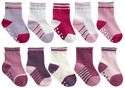 """Baby Toddler Girls """"5 Pack"""" Anti-Slip Socks Tick Tock With Grippers From Newborn"""