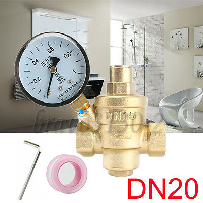 3/4 '' DN20 Bspp Brass Water Pressure Reducing Valve With Gauge Flow Adjustable