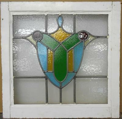 """OLD ENGLISH LEADED STAINED GLASS WINDOW Stunning Sheild Design 21"""" x 20.75"""""""