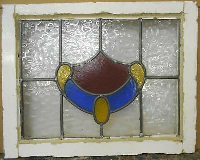 "OLD ENGLISH LEADED STAINED GLASS WINDOW Pretty Abstract Design 21.25"" x 16.75"" • CAD $113.84"