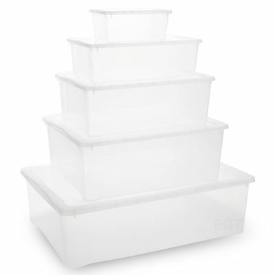 Set Of Clear Underbed Plastic Lightweight Stackable Storage Boxes & Click Lids
