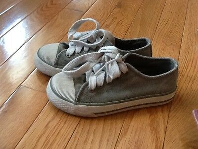 Toddler Boys Childrens Place Olive Green / Gray Canvas Sneakers - Size 11