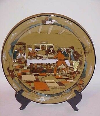 """1908 Buffalo Pottery Deldare 12"""" Charger - Chop Plate  Fallowfield Hunt - Signed"""
