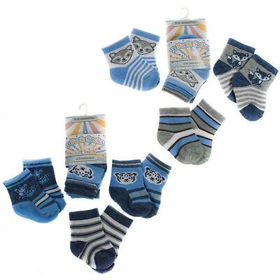 3 Pairs Boys Socks 0-6, 6-12, 12-18 Mths Animals/stripe Cotton Rich Soft Touch