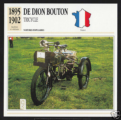 1895-1902 De Dion-Bouton Tricycle 3-Wheel Motorcycle Car Photo Spec French Card