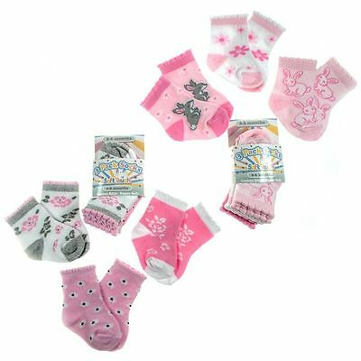 3 Pairs Girls Socks 0-6, 6-12, 12-18 Mths Rabbits/flowers Soft Touch