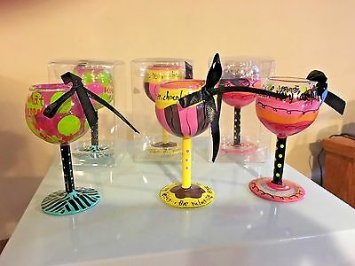 Set Of 6 Mini Hand Painted Wine Glass Ornaments Party/bachelorette Gifts/ Favors