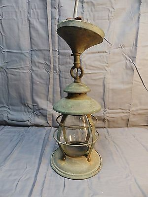 Antique Copper Porch Ceiling Lantern Light Fixture Cylinder Glass Shade Vtg Old