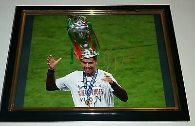 Hand Signed By Christiano Ronaldo With Coa Rare Framed Autographed Photo